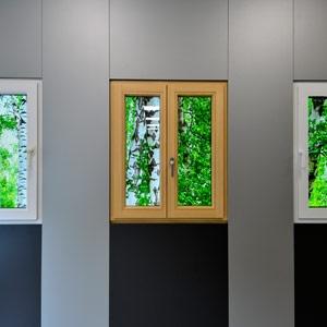 thumb 3 Fenster aus Kunststoff, Holz und Aluminium (von lks); alle mit verdecktliegenden Beschlägen, d.h. ohne sichtbaren Eck- bzw. Scherenecklager