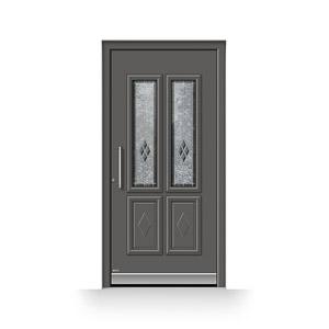 Klassiche Aluminium-Haustür mit Bleiverglasung