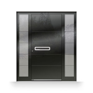 Haustür mit rahmenüberdeckender ESG-Verglasung, Fingerscan