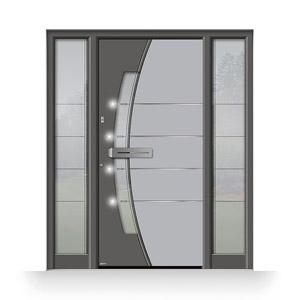 Haustür aus Klarglas mit Fingerscan und LED-Beleuchtung